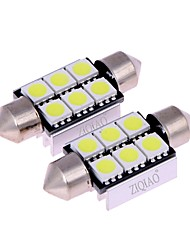 cheap -ZIQIAO White 39mm 5050 6 SMD LED C5W Car Led Auto Interior Dome Door Light Bulb Pathway lighting Work Lamp (12V/2PCS)