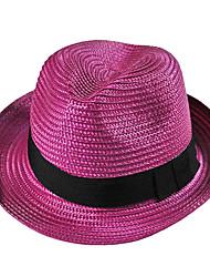 baratos -Mulheres Vintage Fofo Festa Trabalho Casual Palha Primavera Verão Outono Todas as Estações De Palha Chapéu de sol,Retalhos Preto Vermelho