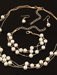 Per donna Fili Collane Strass Perla Lega Classico Oro Argento Gioielli Per Matrimonio Feste Fidanzamento Quotidiano 1 Set