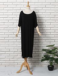 preiswerte -Damen T Shirt Kleid-Lässig/Alltäglich Einfach Solide Rundhalsausschnitt Midi Kurzarm Modal Sommer Hohe Hüfthöhe Dehnbar Dünn