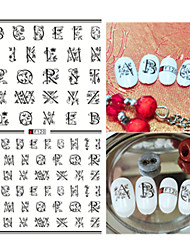 1pcs Fashion Creative Design Nail Art 3D Stickers Personality English Alphabet Design Beautiful Flower Nail DIY Beauty Creative Decoration F120
