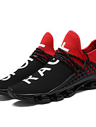 cheap -Unisex Athletic Shoes Summer Fall Comfort Couple Shoes Light Soles Tulle Outdoor Athletic Casual Low Heel Lace-upBlack/White Black/Red
