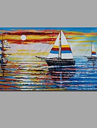 cheap -Hand-Painted Knife sunrise Ocean sailing Oil Painting For Home Decoration With Stretched Frame Ready To Hang