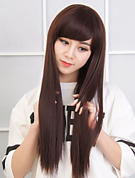 cheap -Long Straight Synthetic Wig Light Brown Synthetic Hair Wig Heat Resistant Cosplay Wigs