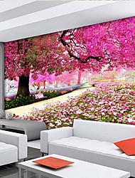 Floral Árvores/Folhas Papel de Parede Para Casa Contemporâneo Revestimento de paredes , Tela Material adesivo necessário papel de parede,