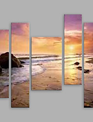 cheap -IARTS®Oil Paintings Set of 5 Modern Landscape Sand Beach Sea Hand-painted Canvas Ready to Hang