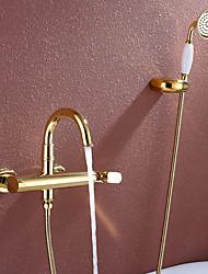 Недорогие -Смеситель для ванны - Ар деко / Ретро Ti-PVD Ванна и душ Керамический клапан / Одной ручкой три отверстия