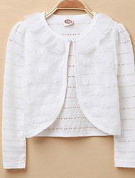 Girls' Going out Casual/Daily School Solid Jacket & Coat,Cotton Spring Summer Fall Long Sleeve White Blushing Pink