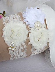 cheap -Lace Classic Fashion Wedding Garter with Feather Imitation Pearl Ribbon Tie Ribbons Flower Sweetheart Special Occasion