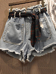 Women's Mid Rise Inelastic Jeans Shorts Pants,Street chic Simple Slim Denim Solid