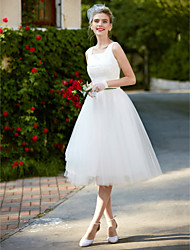 cheap -A-Line Square Neck Knee Length Lace / Tulle Made-To-Measure Wedding Dresses with Lace by LAN TING BRIDE® / Little White Dress