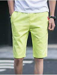 Hombre Casual Tiro Medio Corte Recto Chinos Pantalones,Un Color Verano