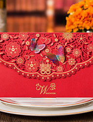 Top Fold Wedding Invitations 50-Invitation Cards Formal Style Vintage Style Flora Style Butterly Style Floral Style Card paper Card Paper