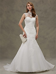 cheap -Mermaid / Trumpet Illusion Neckline Court Train Organza Wedding Dress with Appliques Button by LAN TING BRIDE®