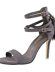 cheap -Women's Shoes Suede Summer Comfort Sandals Stiletto Heel Peep Toe Buckle / Tassel for Dress Pink / Khaki / Nude