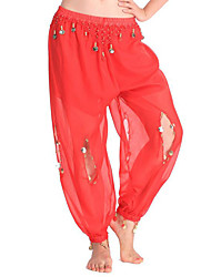 Shall We Belly Dance Bottoms Women Performance Chiffon Pendant 1 Piece High Pants