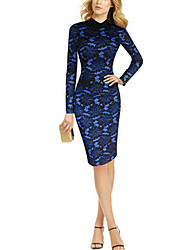 Women's Shirt Collar Plus Size Color Block Jacquard Work Party Vintage Bodycon Lace Stitching Sheath Dress