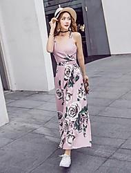 Women's Beach Boho T Shirt Dress,Print V Neck Maxi Sleeveless Cotton Spring Summer Mid Rise Micro-elastic Thin