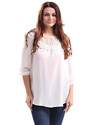 Dámské Jednobarevné Běžné/Denní Práce Jednoduché Košile-Jaro Léto Bavlna Polyester Kulatý Tříčtvrteční rukáv Tenké