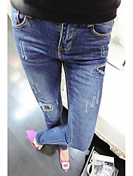 economico -Da donna A vita bassa Moderno Media elasticità magro Jeans Pantaloni,Tinta unita Primavera Estate