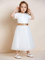 Недорогие -a-line лодыжка длина цветок девушка платье - органза атласная тюль без рукавов жемчужина шея с аппликацией по thstylee