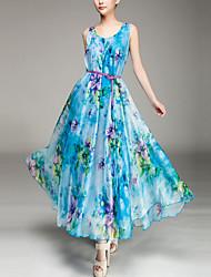 Mulheres Chifon balanço Vestido Floral Longo