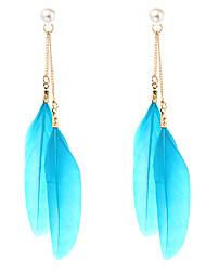 cheap -lureme® Drop Earrings Imitation Pearl Unique Design Animal Design Punk Hip-Hop British Carved Elegant Imitation Pearl Feather Wings / Feather