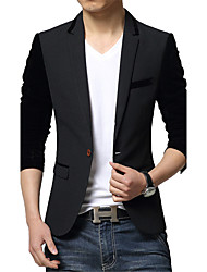 cheap -Men's Patchwork / Color Block Casual / Work Blazer,Cotton / Polyester Long Sleeve Black / Gray