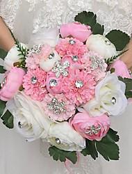 Свадебные цветы Круглый Розы Пионы Букеты Свадебное белье Атлас Стразы 28 см