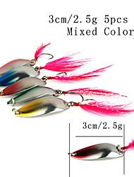 """preiswerte -5 Stück Angelköder Löffel Mehrfarbig g/Unze,30 mm/1-1/4"""" Zoll,MetalSeefischerei Spinn Fischen im Süßwasser Barschangeln Spinnfischen"""