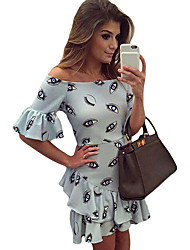 Women's Eye Pattern Print Baby Blue Off Shoulder Dress
