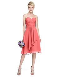 cheap -A-Line Sweetheart Knee Length Chiffon Bridesmaid Dress with Draping Ruched Criss Cross by LAN TING BRIDE®