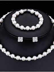 cheap -Jewelry Set Simulated Pearl Bridal Jewelry Sets Crystal Choker Necklace Earrings Bracelet Round White1 Necklace 1 Pair of Earrings 1