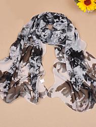 cheap -Women's Chiffon Scarf Cute Party Casual Rectangle Pink/Black/Blue/Grey/Fuchsia/Brown Print Scarves