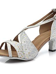 2017 New Women's Dance Shoes Latin Sandals dance shoes  ladies Girls Cuban Heel 5/7 Scrub(B62-1) Customizable