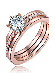 Women's Ring Engagement Ring Statement Rings Crystal Euramerican Fashion Personalized Copper Silver Plated Rose Gold Plated Circle Unqiue Design