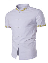 5 colors M-3XL Hot Sale Formal Business Dress shirt Men's Casual/Daily Simple Summer Shirt Solid Peter Pan Collar Short Sleeve Cotton