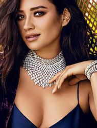 Mulheres Gargantilhas Colares em Corrente Y-colares Cristal Forma Redonda Caído CristalBikini Moda Estilo Boêmio Ajustável Adorável