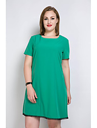 cheap -Really Love Women's Daily Holiday Plus Size Cute Casual Sexy Loose T Shirt Tunic Dress,Solid Color Block Round Neck Knee-length Short Sleeves