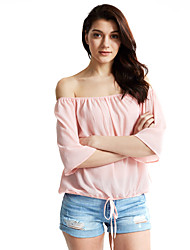 cheap -Women's Going out Cute Blouse - Solid Colored