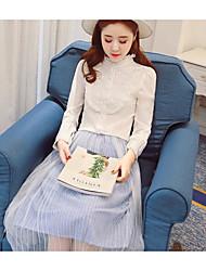 Feminino Blusa Formal SimplesSólido Algodão Decote Redondo Manga Longa