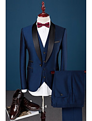 cheap -Royal Blue Solid Slim Fit Cotton Polyester Spandex Suit - Shawl Collar Single Breasted One-button