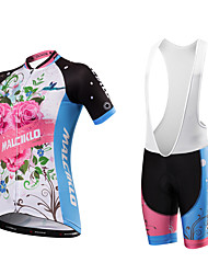 Cycling Jersey with Bib Shorts Women's Unisex Short Sleeves Bike Bib Tights Jersey Quick Dry Anatomic Design Moisture Permeability Front