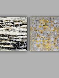 Dipinta a mano Astratto Quadrata,Modern Classico Due Pannelli Tela Hang-Dipinto ad olio For Decorazioni per la casa