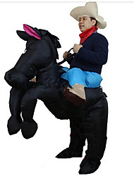 Black Cowboy Horse Outfit Funny Inflatable Costume Halloween Carnival Cosplay Cow Boy Rider Horse Inflatable Costume For Adults