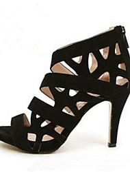 baratos -Feminino Sapatos Couro Ecológico Primavera Conforto Saltos Para Casual Preto Vermelho
