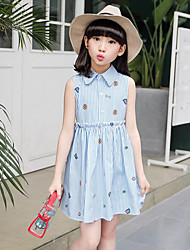 cheap -Girl's Daily Beach Holiday Solid Striped Print Dress,Cotton Summer Sleeveless Floral Stripes Blue Blushing Pink