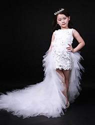 vestito dalla ragazza di fiore asimmetrico dell'abito di sfera - collo di cristallo sleeveless del organza con bordare da ydn