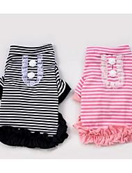 Cane T-shirt Abbigliamento per cani Romantico Casual Di tendenza A quadri Nero Rosa Costume Per animali domestici