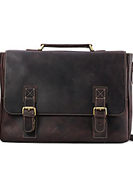 Men Bags All Seasons Cowhide Satchel for Casual Office & Career Brown